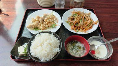 牛大腸炒めと鶏マヨ|日中食堂 (八王子みなみ野)